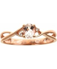 KLENOTA Zlatý prsten s morganitem a diamanty