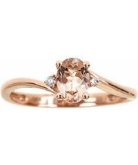 KLENOTA Morganitový prsten s diamanty, růžové zlato