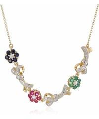KLENOTA Stříbrný pozlacený náhrdelník smaragd, rubín a safír