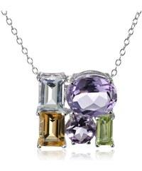 KLENOTA Stříbrný náhrdelník s drahokamy