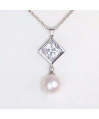 KLENOTA Stříbrný přívěsek s perlou a zirkonem