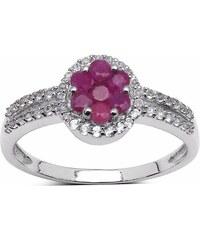 KLENOTA Stříbrný prsten rubín a topaz