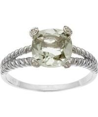 KLENOTA Stříbrný prsten se zeleným ametystem a diamanty