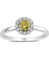 KLENOTA Zlatý prsten bílý a žlutý diamant