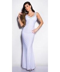 Koucla Bílé plesové šaty se zdobeným výstřihem