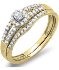 KLENOTA Briliantový zásnubní a snubní prsten