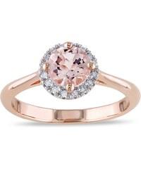 KLENOTA Prsten z růžového zlata, morganit a diamanty