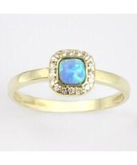 KLENOTA Zlatý opálový prsten se zirkony