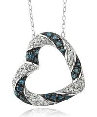 KLENOTA Černobílé stříbrné srdce s diamanty