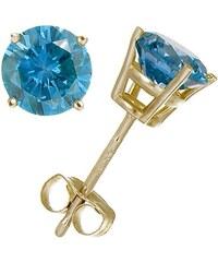 KLENOTA Zlaté náušnice pecky s modrými diamanty