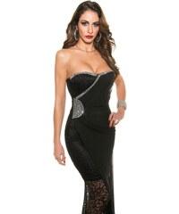 Koucla Krajkové černé dlouhé šaty