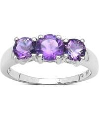KLENOTA Stříbrný prsten s ametysty