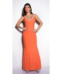 Koucla Dámské oranžové plesové šaty