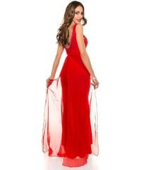 Koucla Dámské červené společenské šaty s vlečkou