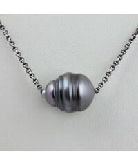 KLENOTA Stříbrný náhrdelník s tahitskou perlou