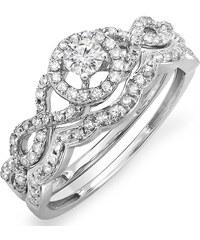 KLENOTA Diamantový zásnubní a snubní prsten z bílého zlata