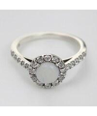 KLENOTA Stříbrný prsten s opálem a zirkony