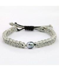 KLENOTA Kožený náramek s tahitskou perlou