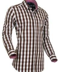 Košile StyleOver hnědobílá kostka