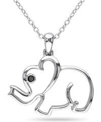 KLENOTA Stříbrný slon s černým diamantem
