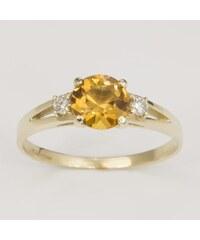 KLENOTA Zlatý prsten s citrínem a dvěma diamanty