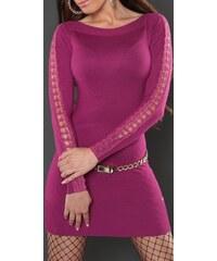 Koucla Dámské fialové úpletové šaty