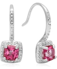 KLENOTA Stříbrné náušnice s růžovými topazy a diamanty