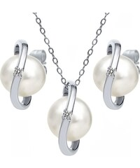 KLENOTA Stříbrná perlová souprava s diamanty