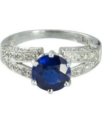 KLENOTA Stříbrný prsten se syntetickým safírem a zirkony
