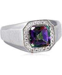 KLENOTA Stříbrný prsten s mystik topazem a safíry