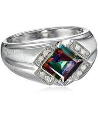 KLENOTA Pánský prsten s mystik topazem a diamanty