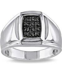 KLENOTA Pánský prsten s černými diamanty