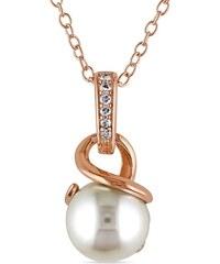 KLENOTA Pozlacený stříbrný přívěsek s perlou a diamanty