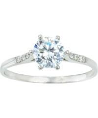 KLENOTA Stříbrný prsten s akvamarínem a zirkony