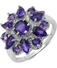 KLENOTA Stříbrný prsten květina s ametysty