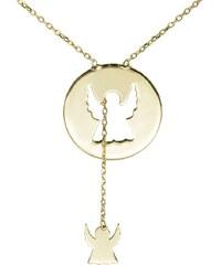 KLENOTA Zlatý řetízek s přívěskem ve tvaru anděla