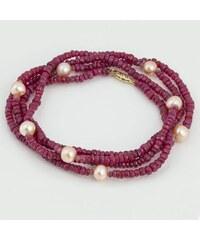 KLENOTA Rubínový náhrdelník se sladkovodníma perlama