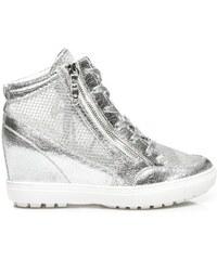 BETLER Sneakery se síťovinou stříbrné