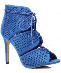 VICES Modré děrované sandály na podpatku