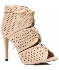 VICES Béžové děrované sandály na podpatku