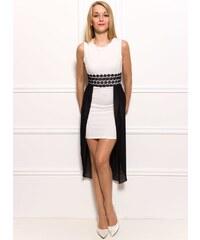 Glamorous by Glam Dámské bílé šaty s krajkou a černým šifónem