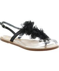 Lesara Zehentrenner-Sandale mit Rüschen - Schwarz - 36