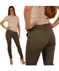 Lesara Stretch-Hose mit Knopfleiste - Khaki - 26