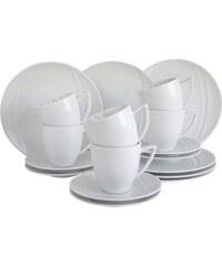 CreaTable Kaffeeservice Porzellan 18 Teile CARAT weiß
