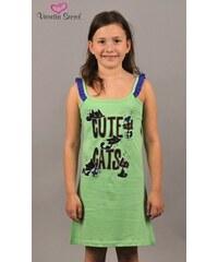 Vienetta Secret Dětská noční košile na ramínka Kočky - zelená