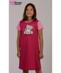 Vienetta Kids Dětská noční košile s krátkým rukávem Malý tygr - malinová