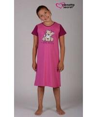 Vienetta Kids Dětská noční košile s krátkým rukávem Malý tygr - šeříková