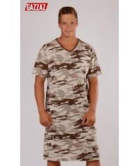 Gazzaz Pánská noční košile s krátkým rukávem Army - hnědá