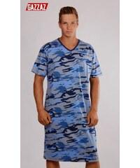 Gazzaz Pánská noční košile s krátkým rukávem Army - světle modrá