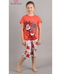 Vienetta Secret Dětské pyžamo kapri Kočka s dárkem - oranžová